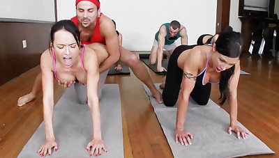 Lustful yoga beauties getting fucked in a foursome