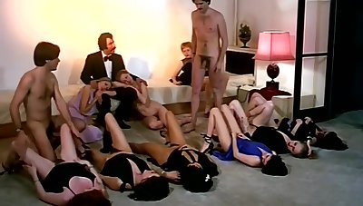 Vintage sex orgy action with horny company of girls