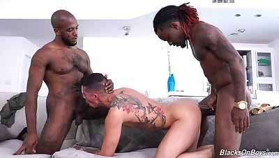 Twink gets ass fucked by two thugs in rough gay video