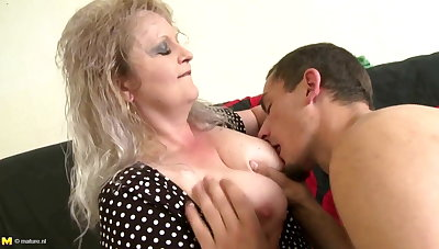 Taboo home story with mature mom and young boy