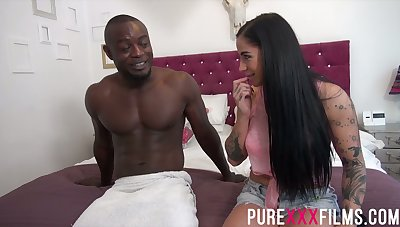 BBC fucks smoking hot white fixture Kimmie Foxx and cums on her breast