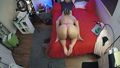 CamSoda - Babe with fat ass watched upstairs spycam sucking
