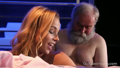 Slutty nicely shaped hot cowgirl Rebecca rides strong old cock