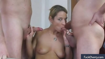 Alluring blonde milf in stockings gets drilled at the end of one's tether two guys