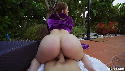 Broad in the beam booty non-specific shows random dude reverse POV sex