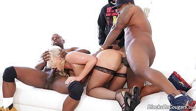 Black studs make a gum up the works horny blonde London Brooklet during rough gangbang
