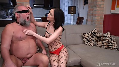 Grey bearded old fuck becomes a young woman's plaything and she loves to fuck