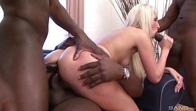 Twosome black bucks treat sexy Jenny Simons like a fuck toy